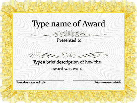 Scholarship Certificate Template Free New Gold Award Certificate Template …