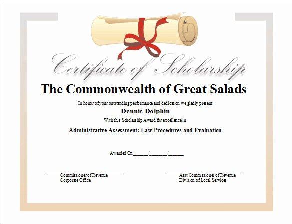 Scholarship Certificate Template Free Unique 11 Scholarship Certificate Templates