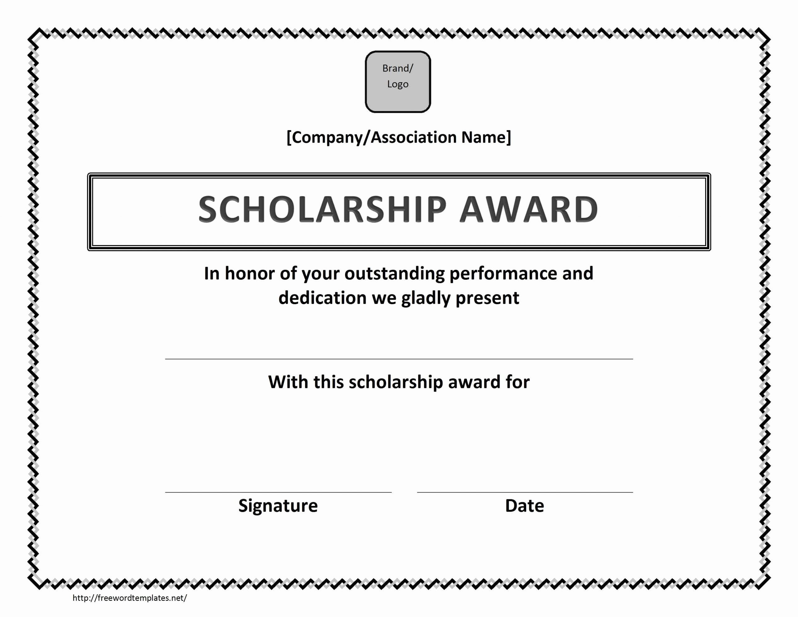 Scholarship Certificate Template Free Unique Scholarship Award Certificate Template