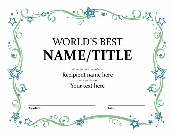 Scholarship Certificate Template Word Fresh World S Best Award Certificate
