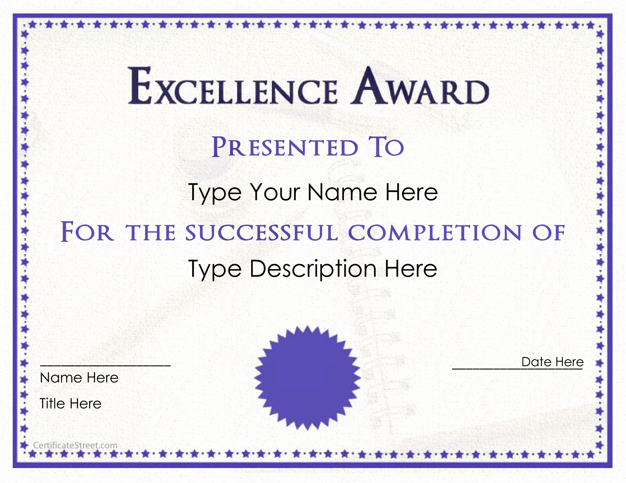 Scholarship Certificate Templates Free Beautiful Excellence Award Certificate