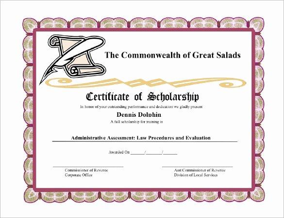 Scholarship Certificates Templates Free Elegant 11 Scholarship Certificate Templates
