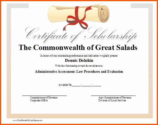Scholarship Certificates Templates Free New 8 Scholarship Award Certificate