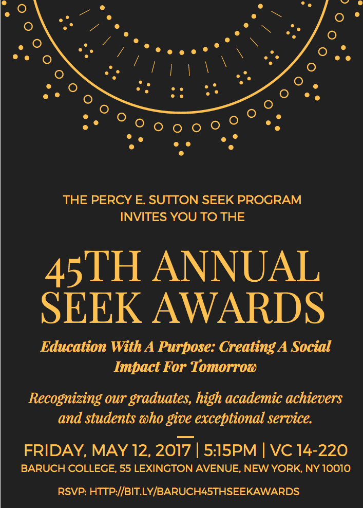 School Award Ceremony Invitation Awesome Seek Program Scholarship and Awards Ceremony Baruch