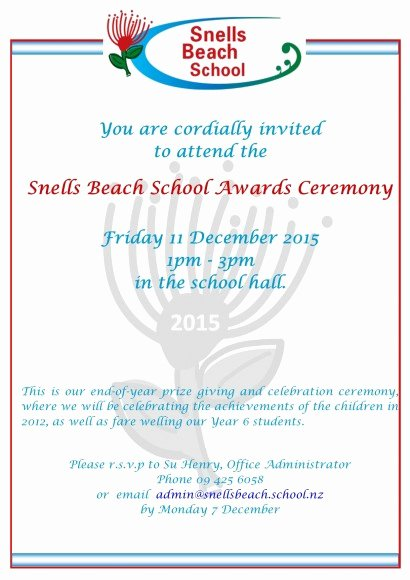 School Award Ceremony Invitation Beautiful Snells Beach School Newspaper 27 November 2015
