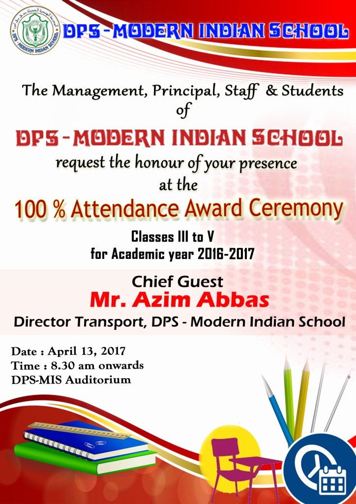 School Award Ceremony Invitation Elegant Classes Iii to V – attendance Award Ceremony