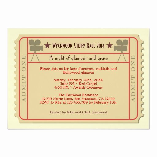 School Award Ceremony Invitation Luxury Movie Ticket Award Ceremony Party Invitation