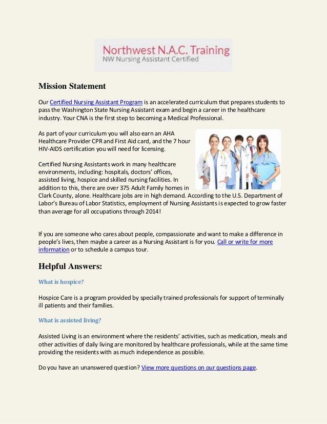 School Of Nursing Mission Statement Examples Unique Cna Training School Nursing
