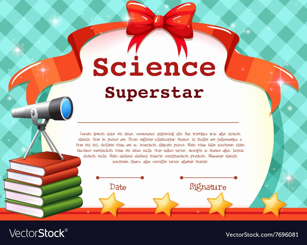 Science Fair Award Certificate Inspirational Certificate for Science Subject Royalty Free Vector Image