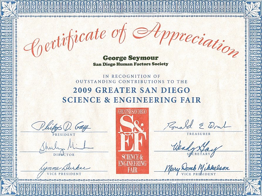 Science Fair Award Certificate Inspirational Personal VitÁ