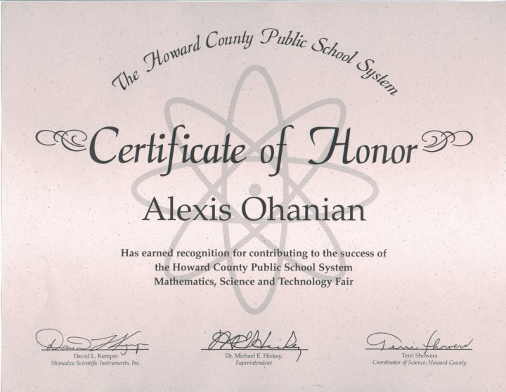 Science Fair Award Certificate New Portfolio Body