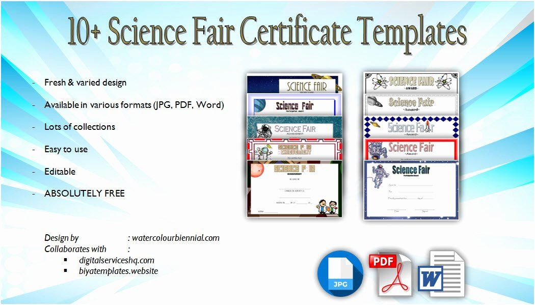 Science Fair Award Certificates Elegant Download 10 Science Fair Certificate Templates Free