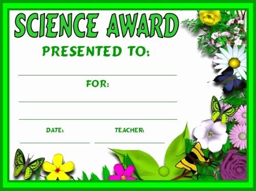 Science Fair Award Certificates New Science Award Certificates School Units