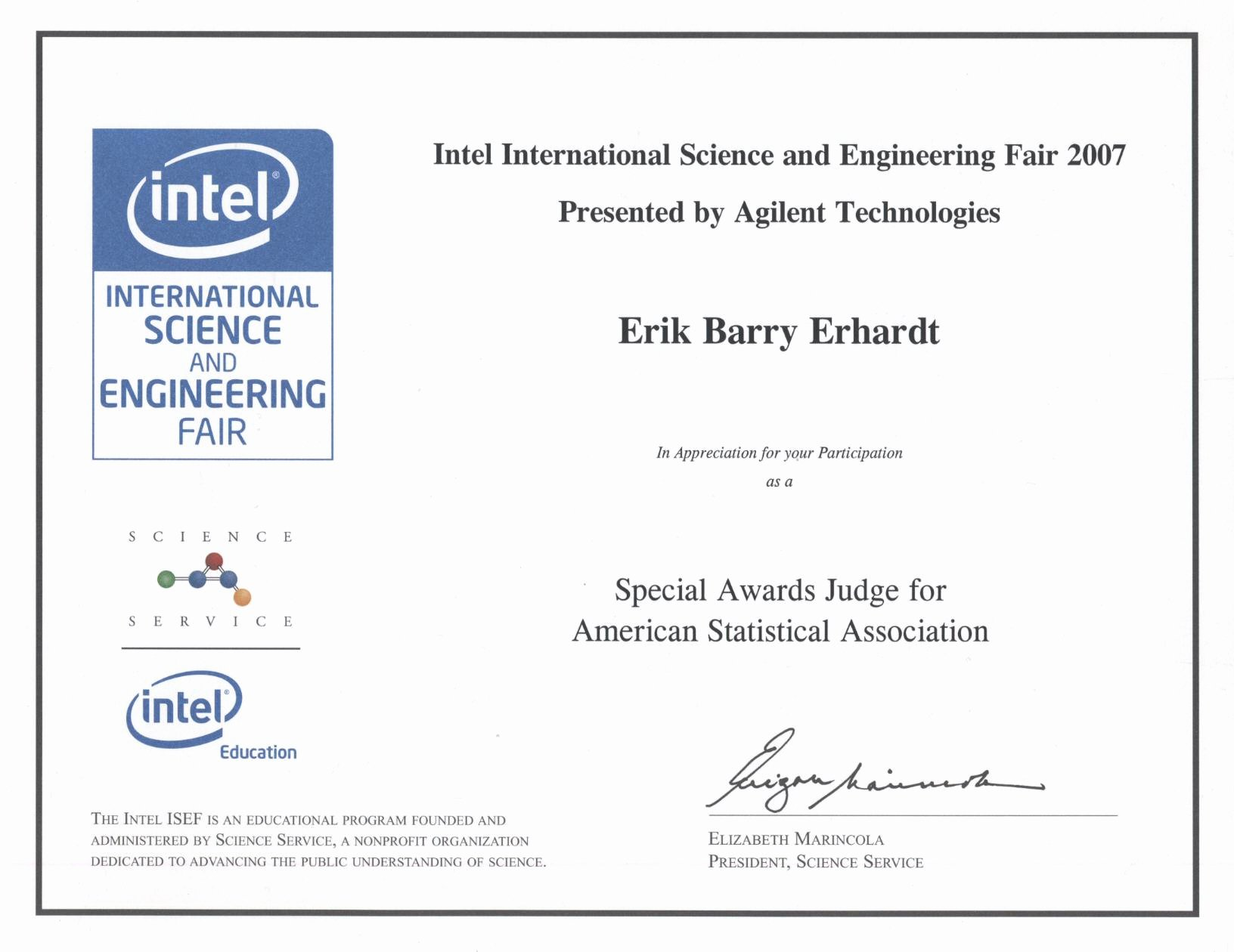 "Science Fair Awards Certificates Inspirational Awarding ""special Award From the American Statistical"