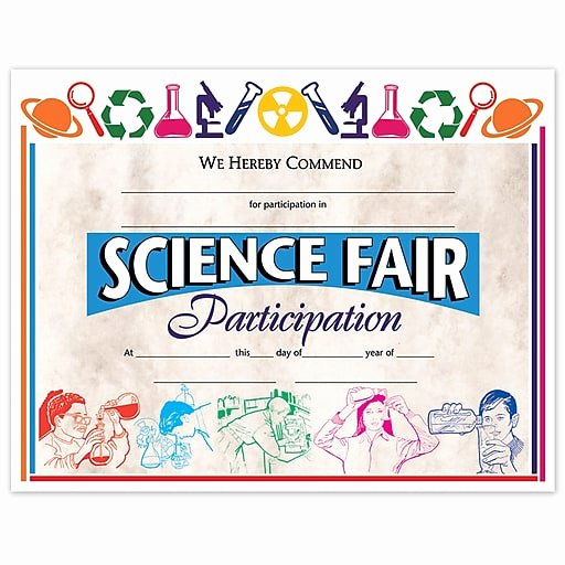 "Science Fair Awards Certificates Inspirational Hayes Science Fair Participation Certificate 8 5"" L X"