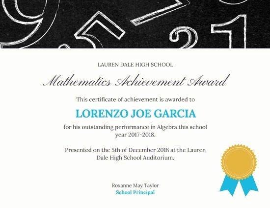 Science Fair Certificate Template Elegant Mathematics Achievement Certificate