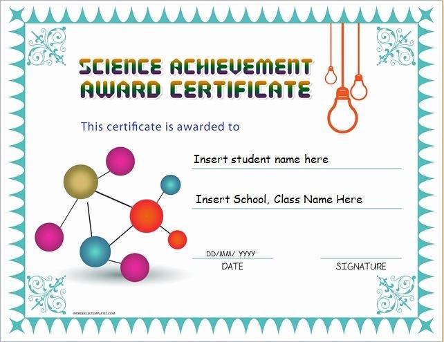 Science Fair Certificate Template Fresh Science Achievement Award Certificates