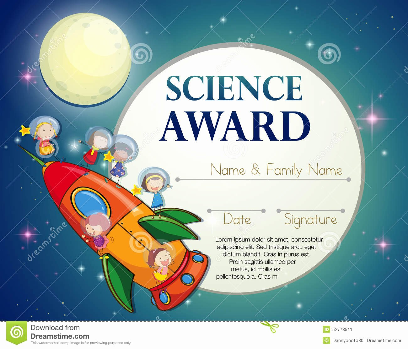 Science Fair Certificate Template New Science Award Stock Vector Image