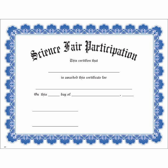Science Fair Certificate Template Unique Science Fair Participation Blue Uw Certificate Jones