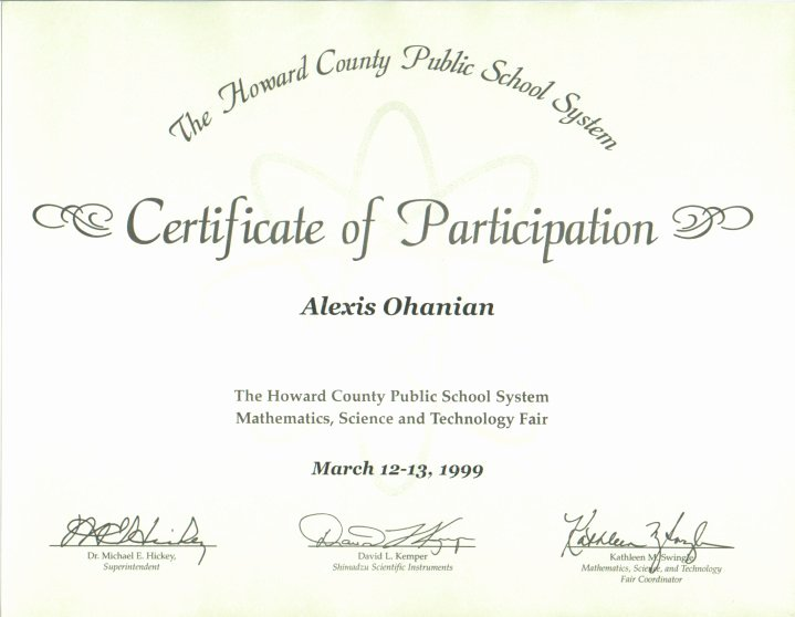 Science Fair Certificates Of Participation Beautiful Portfolio Body