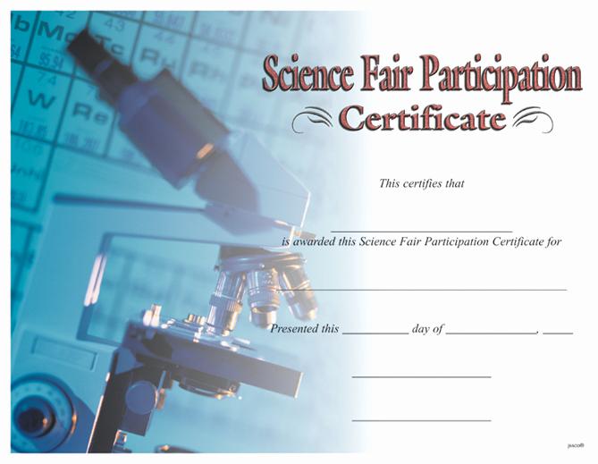 Science Fair Certificates Of Participation Elegant Award Certificates