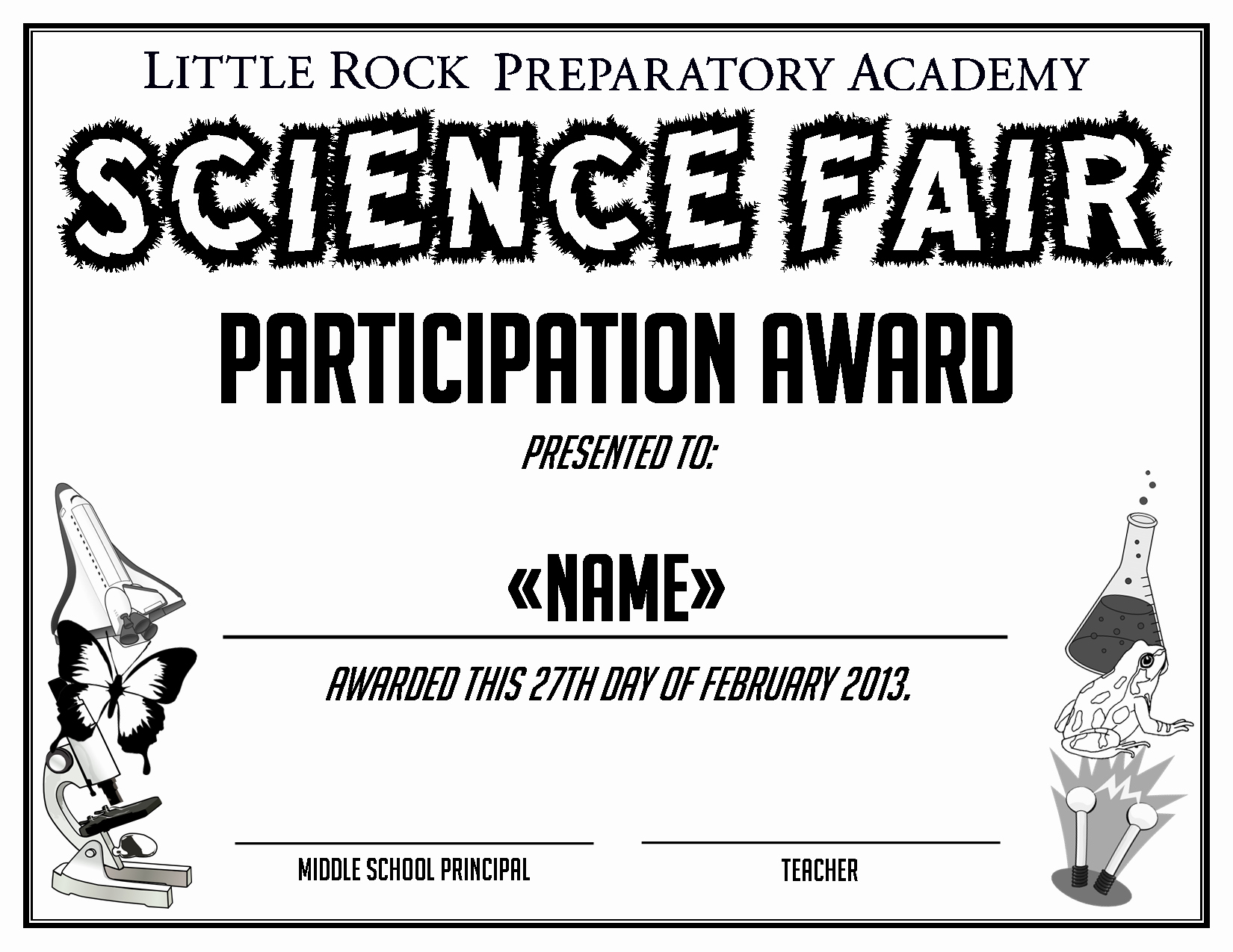 Science Fair Certificates Of Participation Inspirational Little Rock Preparatory Academy Work by Anna Alderson at