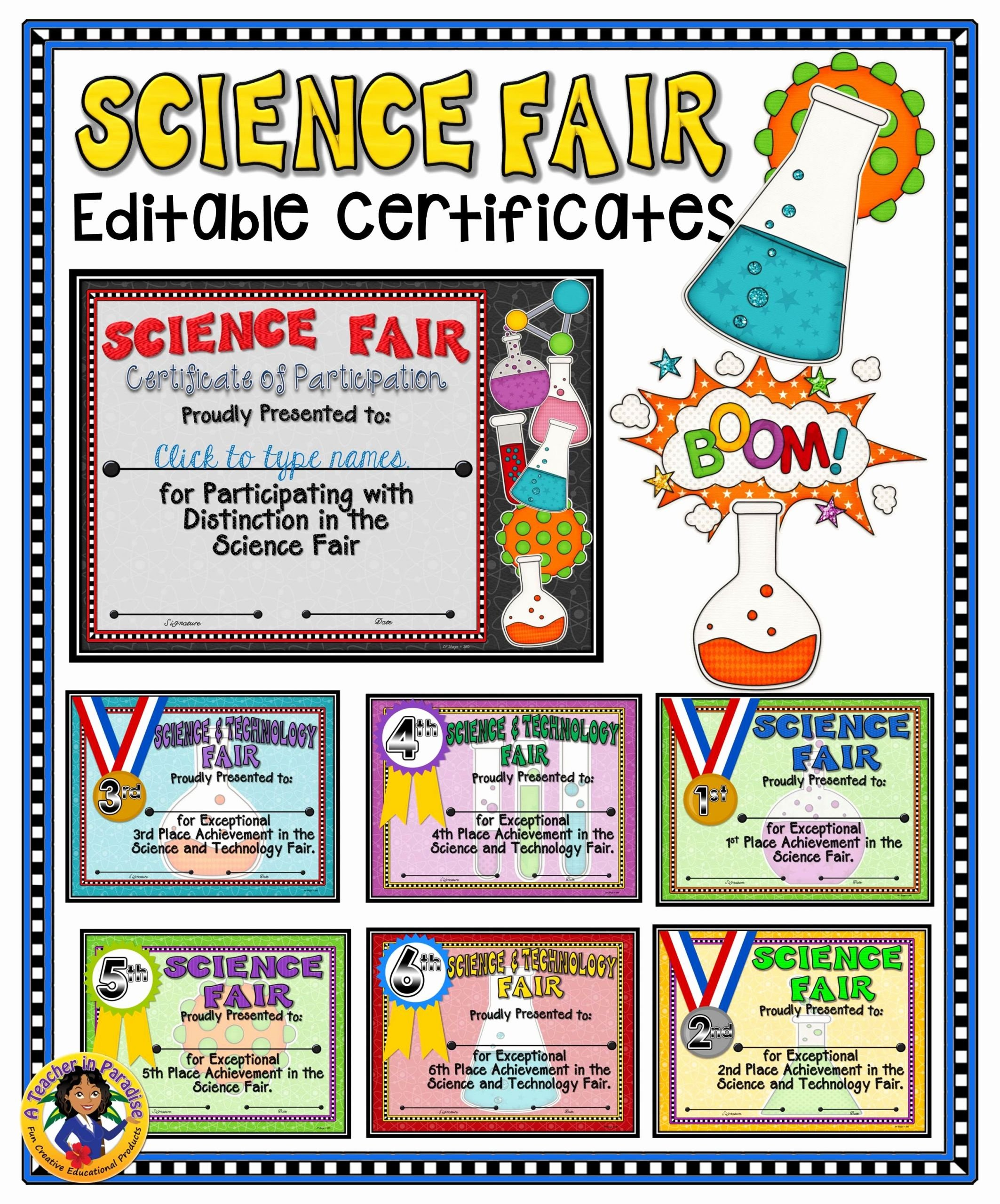 Science Fair Certificates Of Participation Luxury Science Fair Fillable Certificates