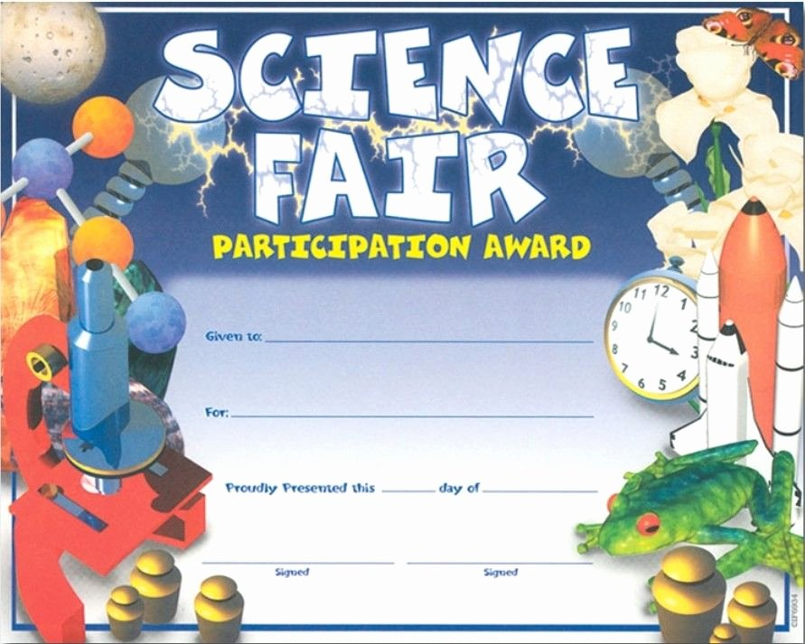 Science Fair Certificates Of Participation New Science Fair Certificates Science Symbols & Clock