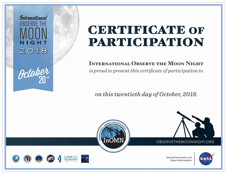 Science Fair Certificates Of Participation Pdf Awesome 2018 Observe the Moon Night Certificate Of Participation