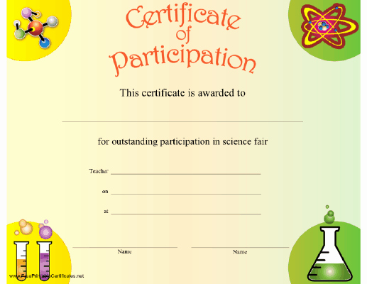 Science Fair Certificates Of Participation Pdf Lovely A Certificate Of Participation to Be Present to Any