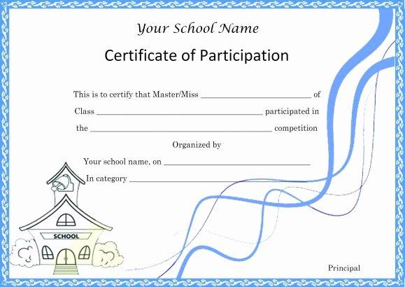 Science Fair Certificates Of Participation Pdf Luxury Certificate Of Partcipation Template School