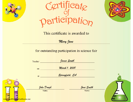Science Fair Certificates Of Participation Unique A Certificate Of Participation to Be Present to Any