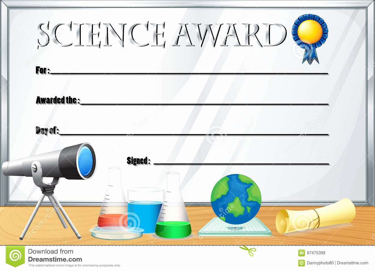 Science Olympiad Certificate Template Beautiful Certificate Template for Science Award Stock Vector