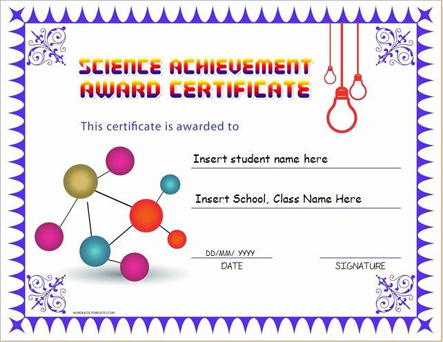 Science Olympiad Certificate Template Best Of Science Achievement Award Certificates
