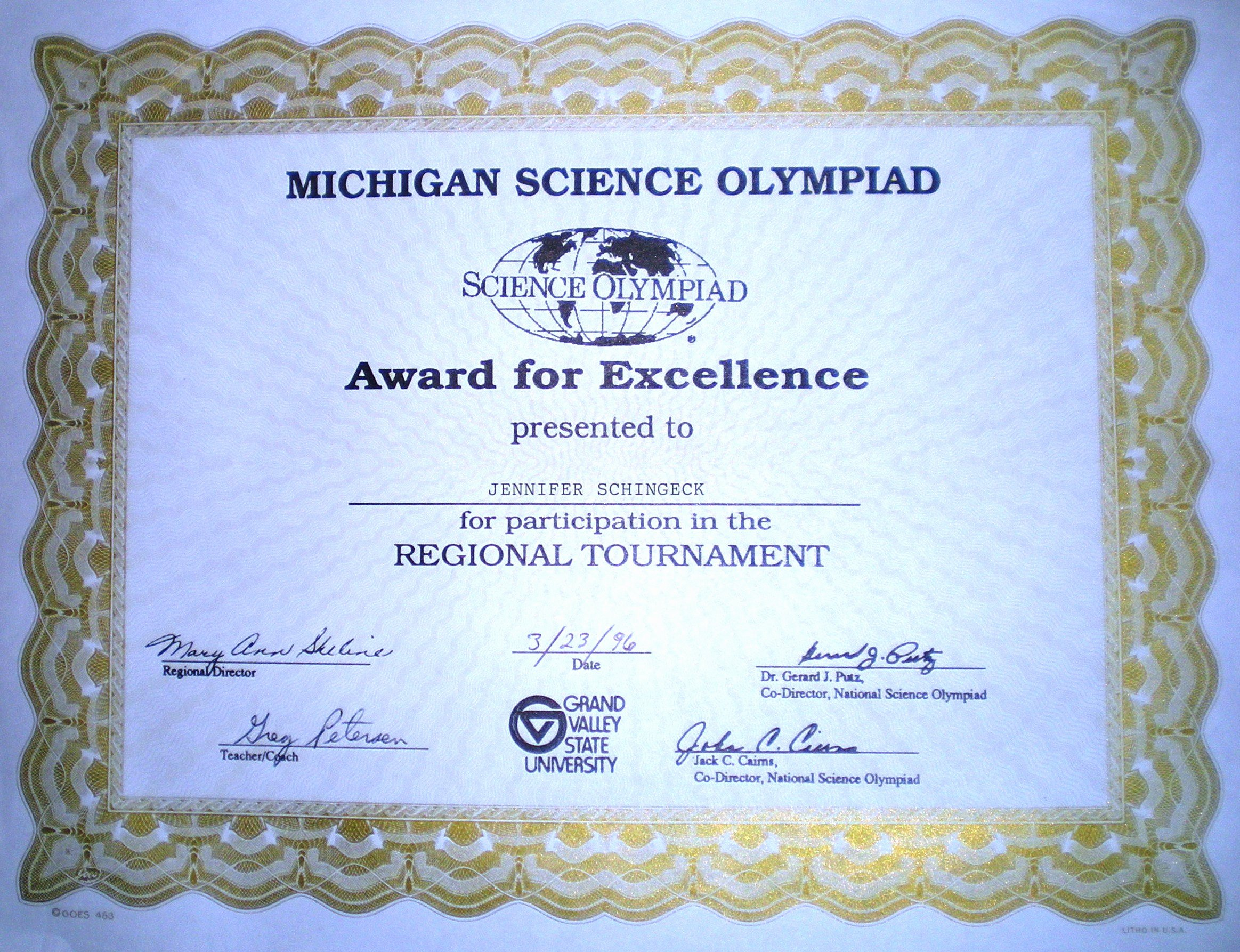 Science Olympiad Certificate Template Lovely Jennifer Schingeck