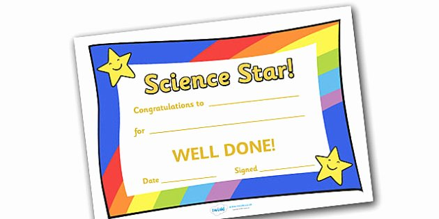 Science Olympiad Certificate Template Unique Science Star Award Science Star Award Science Star