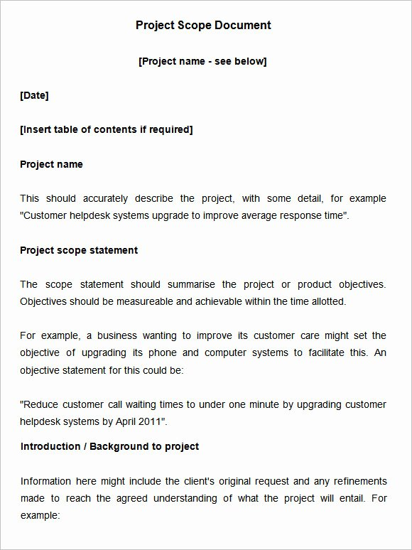 Scope Of Work Sample for Construction Awesome Scope Document Template