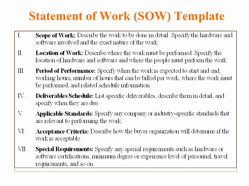 Scope Of Work Sample for Construction Inspirational Statement Work Template