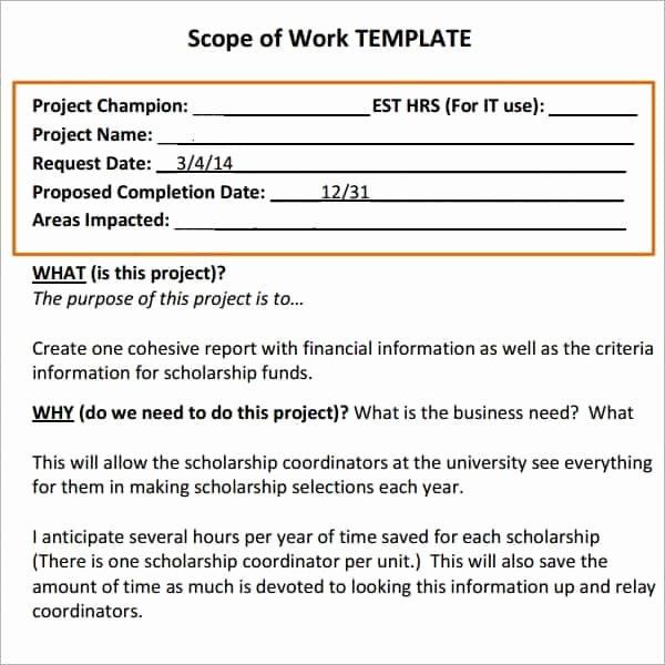 Scope Of Work Sample for Construction Luxury 7 Construction Scope Of Work Templates Word Excel Pdf