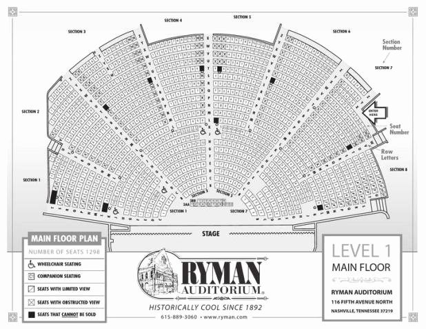 Seating Chart for Ryman Auditorium Luxury Ryman Seating Capacity