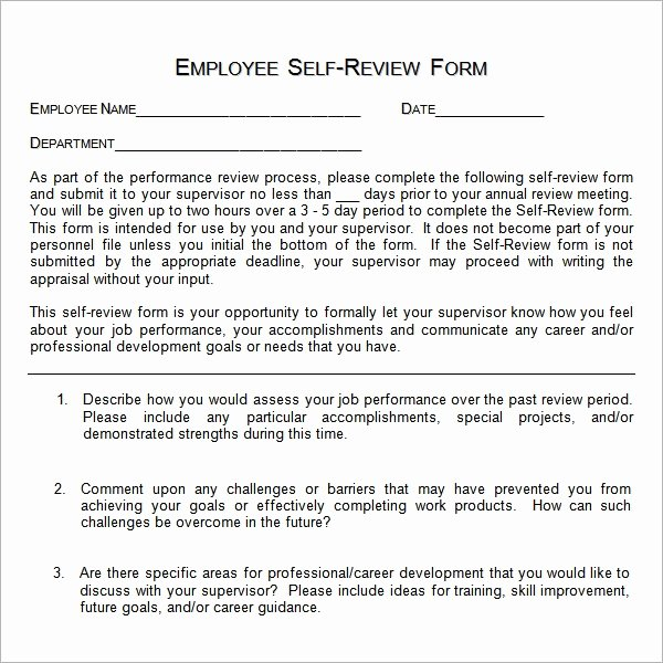 Self Evaluation Letter Inspirational Free 14 Sample Employee Self Evaluation form In Pdf