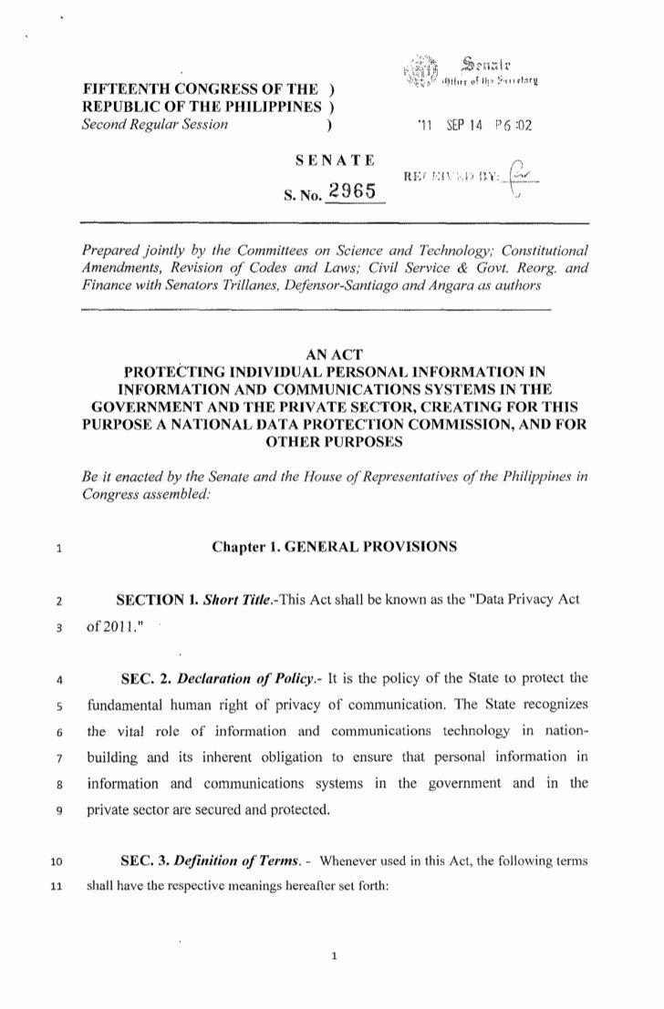 Senate Bill format Unique Data Privacy Act Senate Bill No 2965