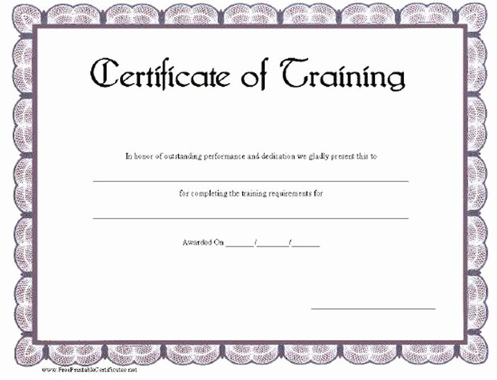 free training certificate templates