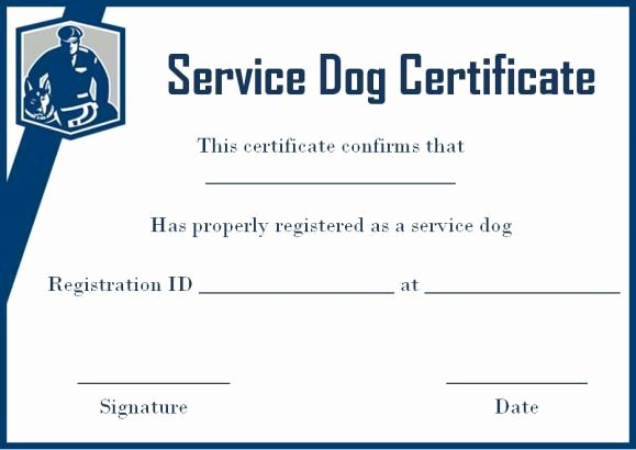 Service Dog Certificate Template Free Lovely Service Dog Certificate Template Free