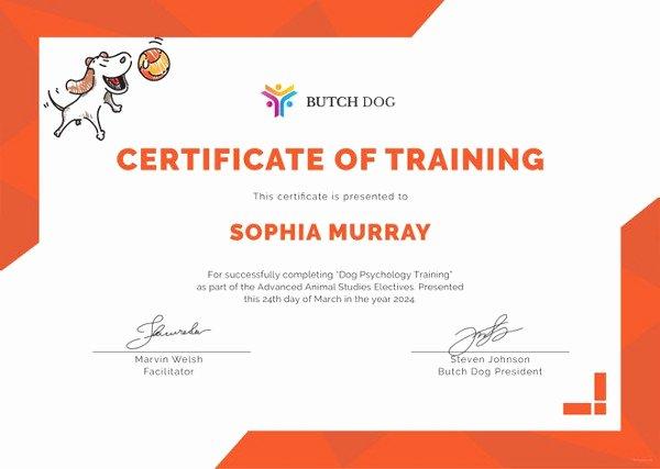 Service Dog Training Certificate Template Awesome Training Certificate Template 27 Free Word Pdf Psd