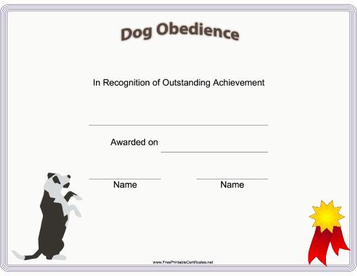 Service Dog Training Certificate Template Unique This Printable Certificate Of Dog Training or Achievement