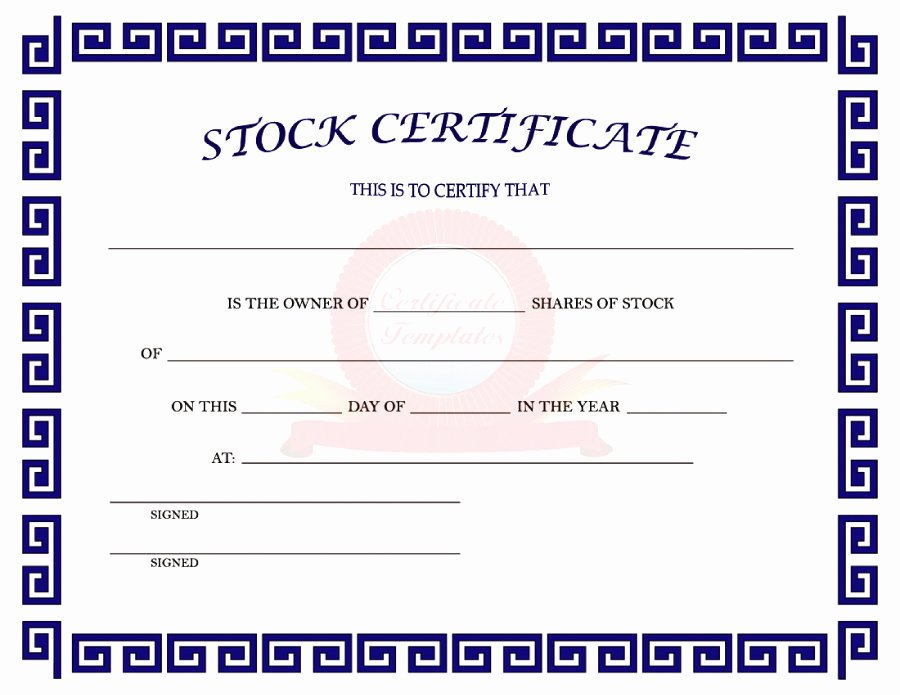 Share Certificate Template Free Download Awesome 41 Free Stock Certificate Templates Word Pdf Free