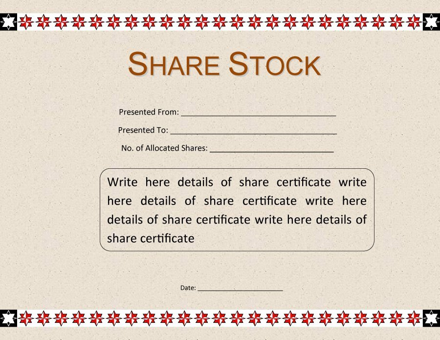 Share Certificate Template Free Download Unique 40 Free Stock Certificate Templates Word Pdf
