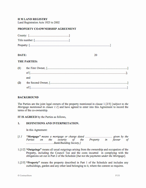 Shared Housing Agreement Elegant Property Co Ownership Agreement