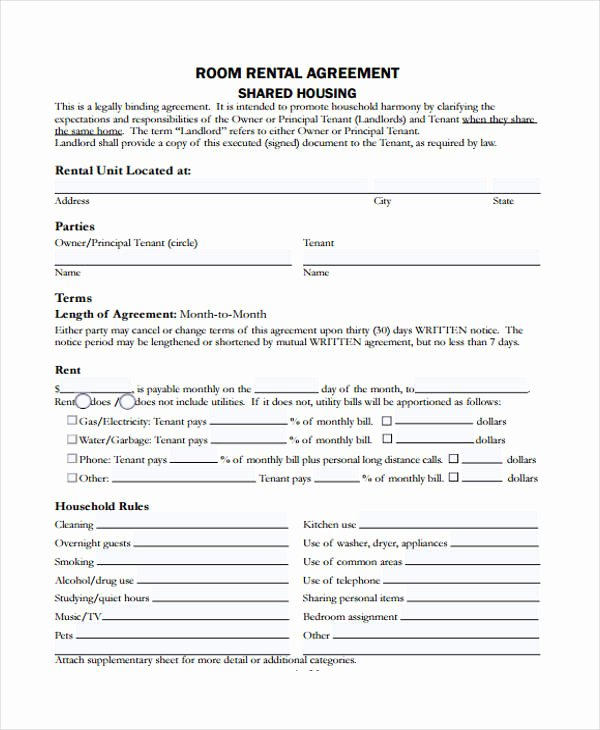 Shared Housing Agreement Fresh Free 20 Sample Rental Agreement forms